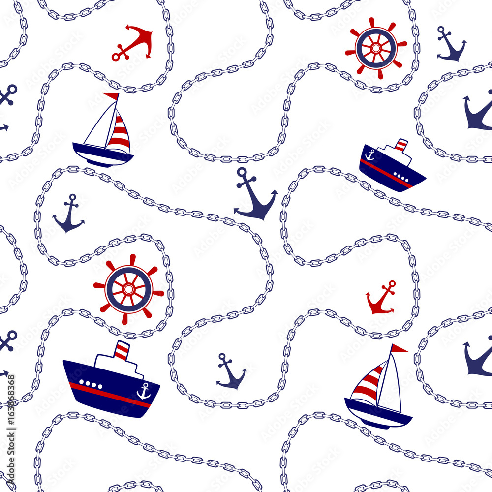 Marine seamless background sea anchor and chain.