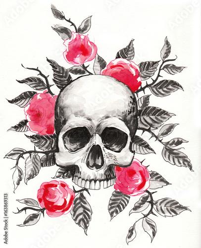 Printed kitchen splashbacks Watercolor skull Skull and roses