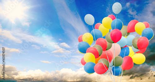 Fotografie, Obraz  Happiness, summer, wedding, birthday, honeymoon party: Multicolor ballons, blue