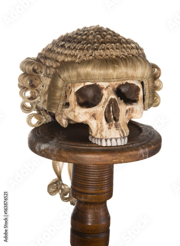 Fotografija  Isolated skull with court wig