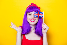 Girl With Purple Color Hair An...