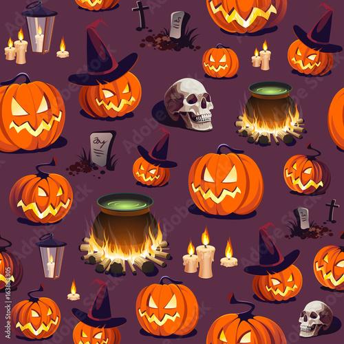 Cotton fabric Seamless Halloween Pattern with Pumpkin, Skull and Lantern on dark background.