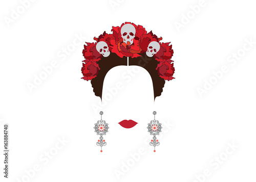 Portrait of modern Mexican or Spanish woman , With flower crowns and skulls, Mex Fototapet