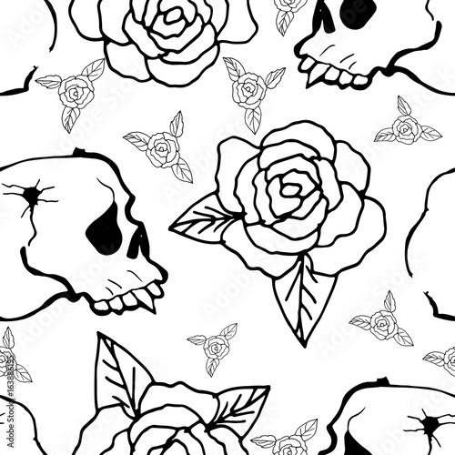 Fototapety, obrazy: Cute Seamless Background. Skulls and roses. Hand Drawn Pattern.