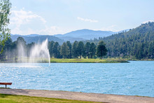 Water Fountain In Park Of Ruidoso, New Mexico, United States Of America. Daylight View.