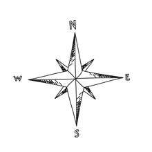 Compass Star Illustration On A White Background.Black And White Color Line Art