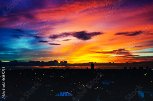 In de dag Australië Evening light in city in Bangkok, Thailand