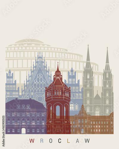 Obrazy na płótnie Canvas Wroclaw skyline poster