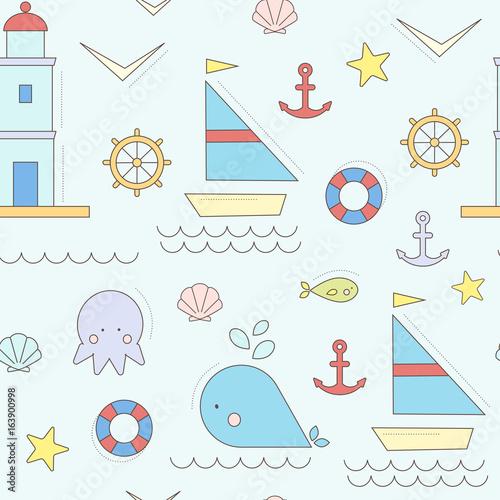 wektorowy-wzor-morskie-zycie