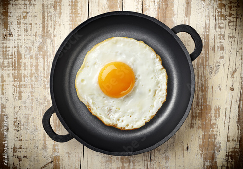 fried egg on iron pan
