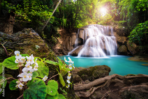 Deurstickers Watervallen Waterfall in Thailand, called Huay or Huai mae khamin in Kanchanaburi Provience