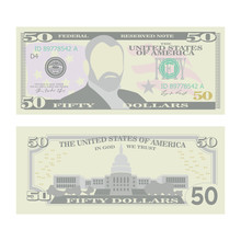 50 Dollars Banknote Vector. Cartoon US Currency. Two Sides Of Fifty American Money Bill Isolated Illustration. Cash Symbol 50 Dollars