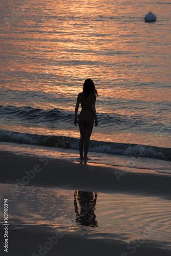Fille Au Coucher Du Soleil à Arcachon Buy This Stock Photo