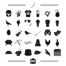 Cinema, Weather, Equipment And Other Web Icon In Black Style.hotel, Egypt, Theater, Animal, Food Icons In Set Collection.