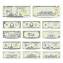 Dollars Banknote Set Vector. C...