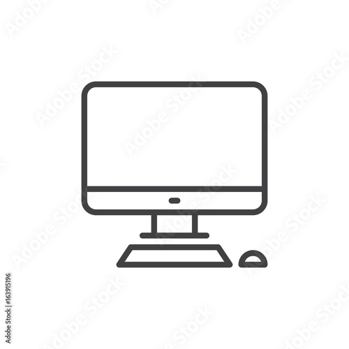 Desktop computer line icon, outline vector sign, linear style pictogram isolated on white Fototapet