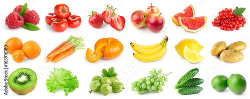 Collection of ripe fruits and vegetables © seralex