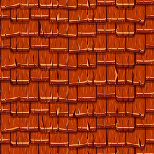 Cartoon Red Wooden Old Roofing Roof Tiles Seamless Background, Collection Texture