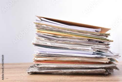 Stack documents pace on wood desk in office Canvas-taulu