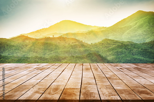 Tuinposter Zwavel geel view of mountain landscape and sunlight