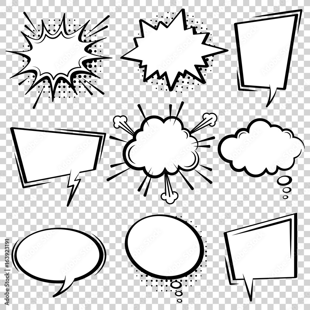 Fototapety, obrazy: Comic speech bubble set. Empty cartoon black and white cloud pop art expression speech boxes. Comics book vector background template with halftone dots.