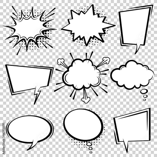 Poster Pop Art Comic speech bubble set. Empty cartoon black and white cloud pop art expression speech boxes. Comics book vector background template with halftone dots.
