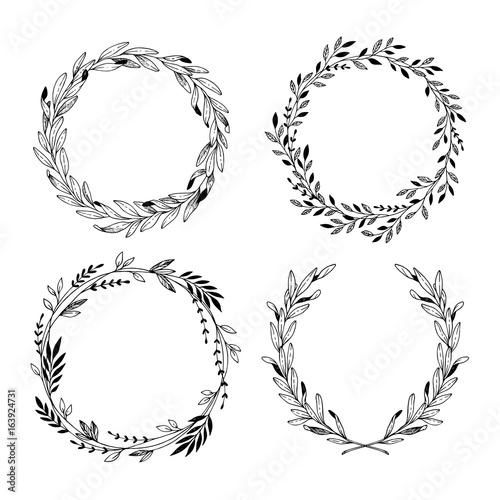 Fototapeta Hand drawn vector illustration. Vintage decorative laurel wreaths. Tribal design elements. Perfect for invitations, greeting cards, blogs, prints and more. obraz