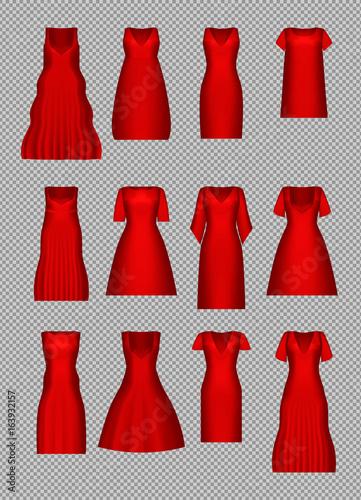 f6e850d0cb3c9 Women's dress mockup set. Cocktail evening dress collection in retro ...
