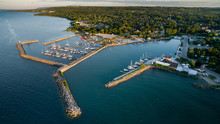 Aerial View Of The Waterfront In Meaford Ontario, Canada.