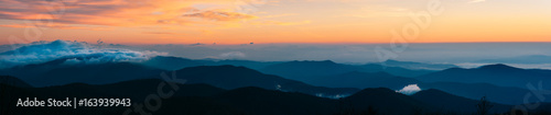 Photo Stands Sunset Panoramic Views of the Blue Ridge Mountains from the Art Loeb Trail on Black Balsam Knob in Pisgah National Forest North Carolina