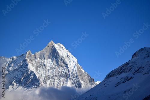 Fototapeta Snow-covered mountain from ABC base camp, himalaya, Nepal obraz na płótnie