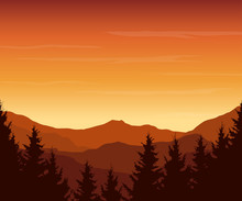 Panoramic View Of Mountain Landscape With Forest And Hill Under Red Sky With Dawn And Clouds - Vector Illustration