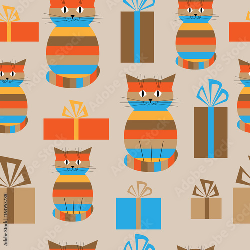Festive seamless background with cute cats and gifts