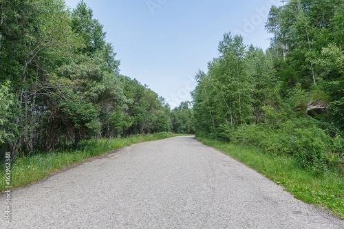 Fototapeta Road in mountain forest sky in East Kazakhstan Region. obraz na płótnie