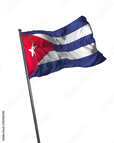 Cuba Flag Waving Isolated on White Background Portrait Canvas Print