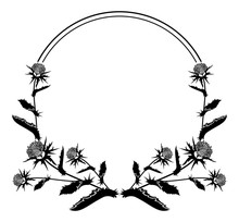 Round Frame With Thistle Silhouette. Vector Clip Art.