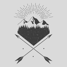 Forest,  Mountains, Arrows. Vector.