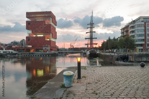 Foto op Plexiglas Antwerpen The MAS Museum and sailing boat in the area known as
