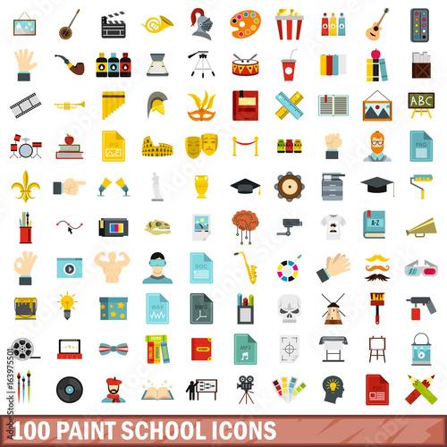 Printed kitchen splashbacks Watercolor skull 100 paint school icons set, flat style