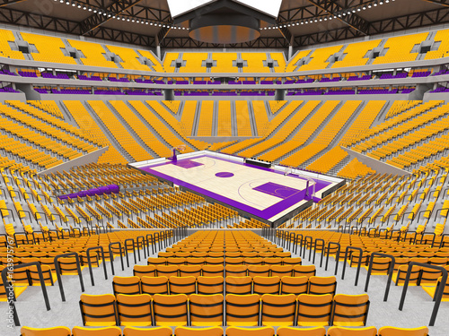 Large modern basketball arena with yellow seats Tableau sur Toile