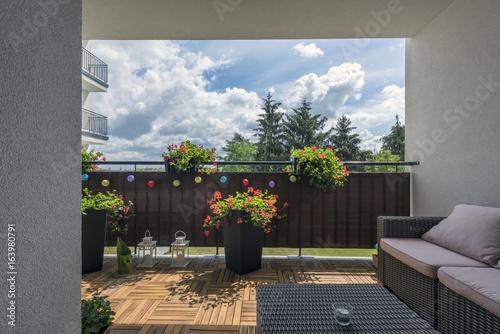 Fotografie, Obraz  Home terrace with wooden floor