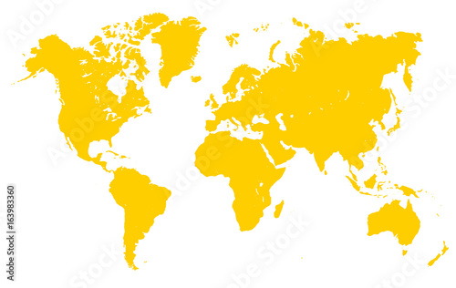 Türaufkleber Weltkarte Yellow World Map - vector