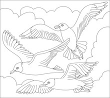 Black And White Page For Coloring. Fantasy Drawing Of Flying Seagulls. Worksheet For Children And Adults. Vector Image.