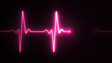 Neon Heart Beat Pulse In Pink Illustration