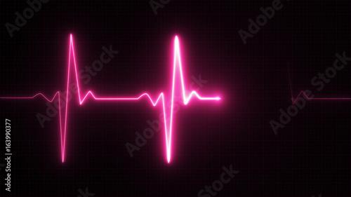 Valokuvatapetti Neon Heart beat pulse in pink illustration