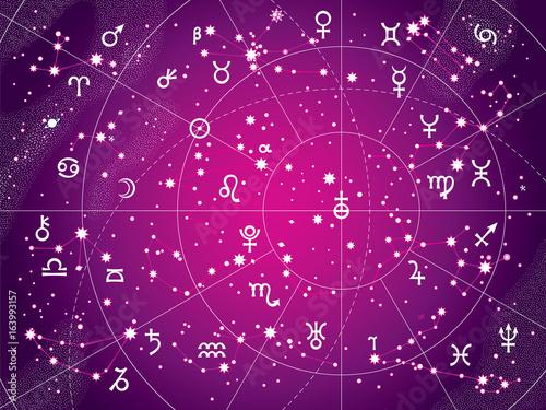 Zdjęcie XXL XII Konstelacje Zodiaka i jego planety władcy. Astrologiczny Wykres Niebiański. (Antyczna fioletowa wersja).
