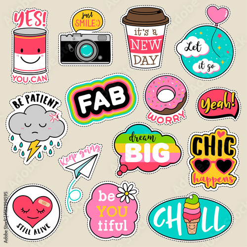 Fotografie, Obraz  Set of fashion patches, cute colorful badges, fun cartoon icons design vector in