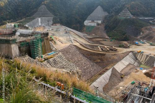 Deurstickers Dam Construction site of dam