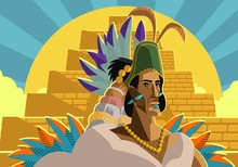 Aztec Great Emperor Priest Near A Pyramid