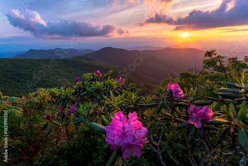 Photo  Sunset at the Blue Ridge Mountains in the spring is an amazing experience